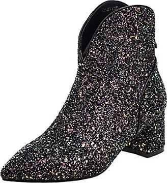 SHOWHOW Damen Retro Stiefelette Blockabsatz Kurzschaft Stiefel Mit Reißverschluss Schwarz 39 EU