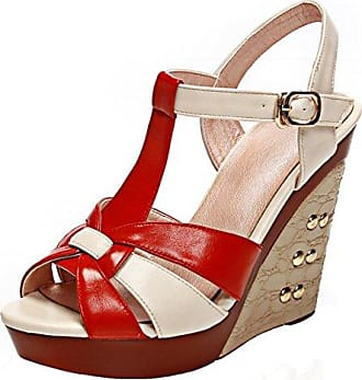 SHOWHOW Damen Metall Peep Toe T-Spange Cut Out High Heels Römersandalen Rot 38 EU
