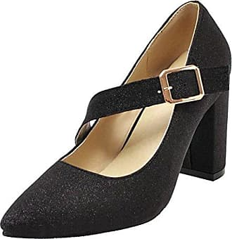 AIYOUMEI Damen T-Spange Pumps Leder Absatz 5 Blockabsatz High Heels Mary  Jane Schuhe 3be558fd4b