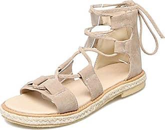 b9c9694ad08181 AIYOUMEI Damen Offen Zehen Wildleder Knöchelriemchen Flache Sandalen mit  schnürung Bequem Modern Schuhe LIDo7Zbe
