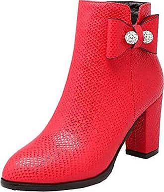 AIYOUMEI Damen Reißverschluss Stiefeletten mit Schleife und Strass 7cm Absatz Blockabsatz Kurzschaft Stiefel Schuhe
