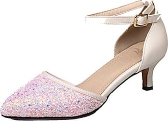 SHOWHOW Damen Elegant Strass Spitz Kitten Heel Low Top Pumps Pink 38 EU