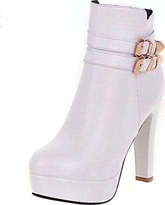 SHOWHOW Damen Elegant Metallic Kurzschaft Stiefel High Heels Stiefelette Schwarz 42 EU
