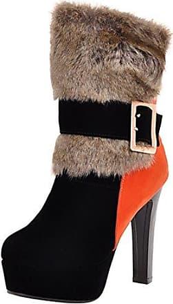 AIYOUMEI Damen Stiletto Plateau Stiefeletten mit Fell und Schnalle High Heels Kurzschaft Stiefel
