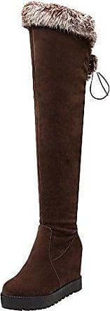AIYOUMEI Damen Keilabsatz Overknee Stiefel mit Schnürsenkel und Fell Bequem Winter Hohe Keilstiefel