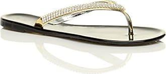 Damen Flach Goldbänder Strass Gummi Flipflops Sandalen Zehentrenner Größe 3 36