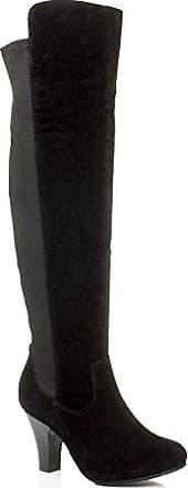 Damen Hochblockabsatz Elastisch Reißverschluss Reiten Overkneestiefel Größe 4 37