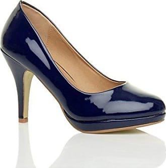Damen Mittel Blockabsatz Komfort Leder Grund Einfach Pumps Schuhe Größe 4 37