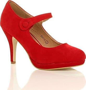 Damen Mittel Blockabsatz Komfort Leder Grund Einfach Pumps Schuhe Größe 3 36