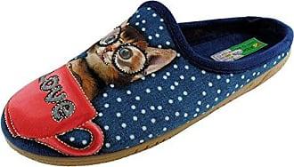 ALBEROLA Hausschuh Pantoffel Helle Sohle Katze in der Love - Tasse - Blau A13883AS - EU 36-42 (38)