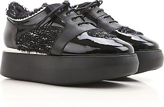 Cuñas para Mujer, Zapatos de Cuña Baratos en Rebajas, Negro, Piel, 2017, 40 Alberto Guardiani