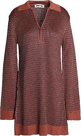 Mcq Alexander Mcqueen Woman Metallic Knitted Mini Dress Copper Size XS Alexander McQueen