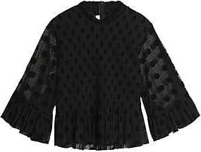 Mcq Alexander Mcqueen Woman Shirred Flocked Tulle Peplum Top Black Size 36 Alexander McQueen