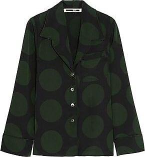 Mcq Alexander Mcqueen Woman Polka-dot Crepe Shirt Forest Green Size 38 Alexander McQueen