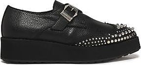 Mcq Alexander Mcqueen Woman Studded Pebbled-leather Wedge Brogues Black Size 38 Alexander McQueen