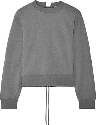T By Alexander Wang Woman Tie-back Mélange Cotton-blend Terry Sweatshirt Black Size XS Alexander Wang