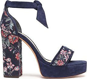 Alexandre Birman Woman Bow-embellished Jacquard And Suede Sandals Navy Size 37.5 Alexandre Birman