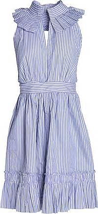 Alexis Woman Open-back Striped Cotton-poplin Mini Dress Light Blue Size XS Alexis