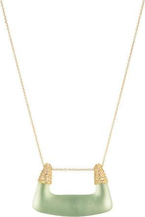 Alexis Bittar Crystal Encrusted Buckle Shape Pendant Necklace Seafoam