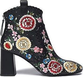 ALICE+OLIVIA Woman Calissa Studded Leather And Lace Ankle Boots Size 39.5