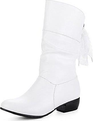 VogueZone009 Damen PU Niedriger Absatz Ziehen auf Rund Zehe Stiefel, Weiß, 42