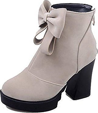 AllhqFashion Damen Rein Mittler Absatz Quadratisch Zehe Stiefel mit Beschlagene Strass, Cremefarben, 34