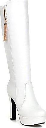 AllhqFashion Damen Blend-Materialien Rein Überknie Hohe Stiefel Hoher Absatz Stiefel, Weiß, 34