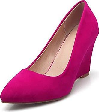 bfe339dbb5e93c AgooLar Damen Weiches Material Spitz Zehe Hoher Absatz Ziehen auf Rein  Pumps Schuhe