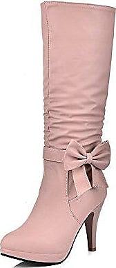 AllhqFashion Damen Stiletto Mitte-Spitze Rein Reißverschluss Stiefel, Weiß, 32