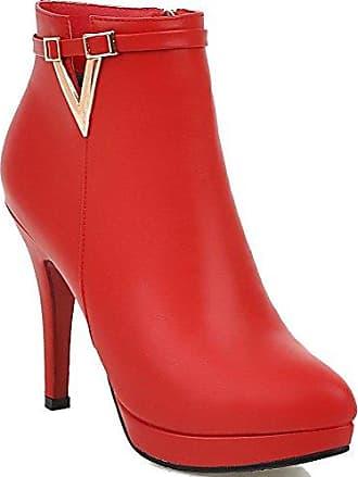 AllhqFashion Damen Stiletto Reißverschluss Niedrig-Spitze PU Stiefel, Rot, 35