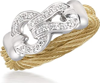 Alór Open Diamond Pavé Circle Ring, Yellow, Size 6.5