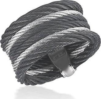 Alór Noir Black Cable Ring w/ Square Diamond Station, Size 6.5