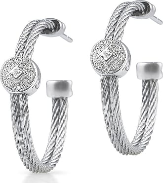 Alór Classique Gray Steel & 18k Diamond Cable Hoop Earrings