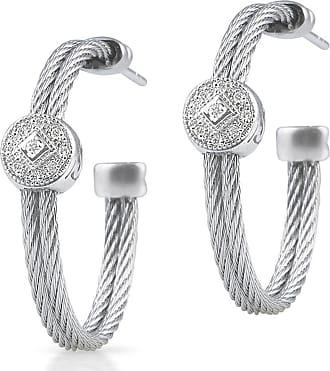 Alór Double-Cable Hoop Earrings w/ Diamond Drop