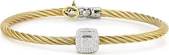 Alór 18kt White & Yellow Gold Classique Large Single Round Diamond Bangle