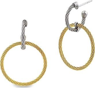 Alór 18kt White Gold & Stainless Steel Noir Diamond Circle Drop Earrings