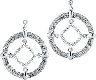 Alór 18kt White Gold & Stainless Steel Classique Circle Diamond Drop Earrings