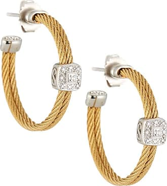 Alór Classique Steel & 18k Diamond Cable Hoop Earrings