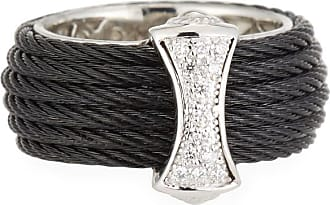 Alór Classique Steel & 18k Diamond Micro Cable Ring, Size 7, Black