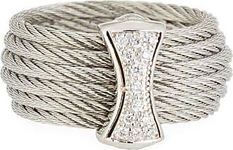 Alór Classique Steel & 18k Diamond Micro Cable Ring, Size 7, Silvertone
