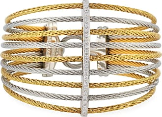 Alór Multi-Row Split Wide Bangle w/ Diamonds, Two-Tone