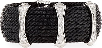Alór Noir Square Cable Bangle w/ Diamond Charm, Black