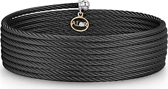 Alór Square Cable Bangle w/ Diamond Charm, Bronze