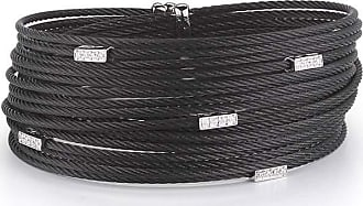 Alór Noir Double-Row Spring Coil Cable & Diamond Bracelet, Black