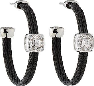 Alór Noir Steel & 18k Diamond Cable Hoop Earrings
