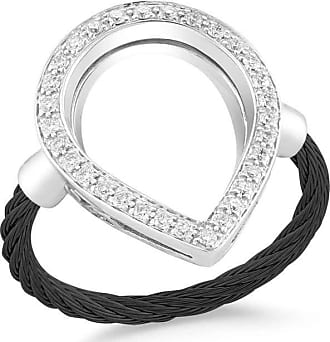 Alór Noir Black Cable Ring w/ Round Diamond Station, Size 6.5