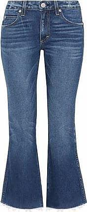 Amo Woman Distressed Mid-rise Kick-flare Jeans Mid Denim Size 31 Amo