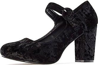 Andres Machado Damen Samt Pumps Mary Jane Stil - Beige Schuhe in Übergrößen, Größe:45