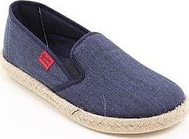 Andres Machado - Unisex Slip-On Schuhe aus dunkelblauem Leinen. Gummisohle mit Jute-Rand. Gr. 43