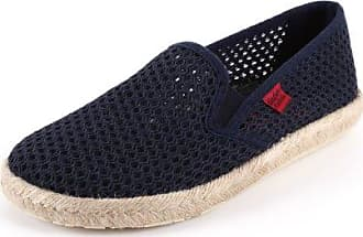 Andres Machado - Unisex Slip-On Schuhe aus dunkelblauem Stoff in Netzstruktur. Gummisohle mit Jute-Rand. Gr. 48